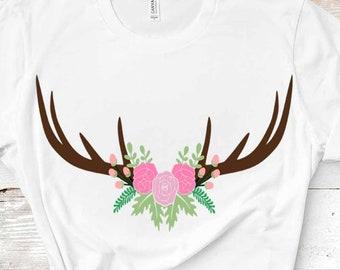 Antler svg, Floral Deer swag svg Hunting svg, flower svg Autumn Cutting File Set Svg, eps, dxf, PNG Cricut, Silhouette, Fishing, clipart