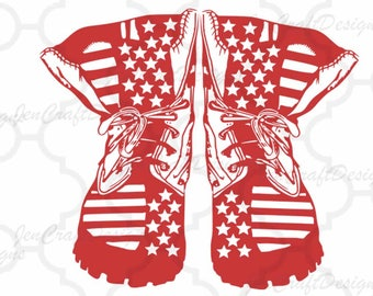 Combat Boots American Flag Stripe, Boot SVG USA 4th of July svg Memorial Day Cricut Silhouette Die Cut Machines. Svg, Dxf, Eps, Png, Studio3