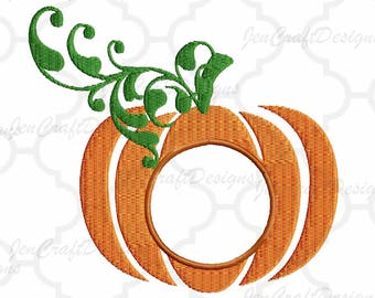Pumpkin Embroidery Monogram Frame Thanksgiving, Fall INSTANT DOWNLOAD digital file in Exp, Hus, Jef, Pes, Vip and Xxx