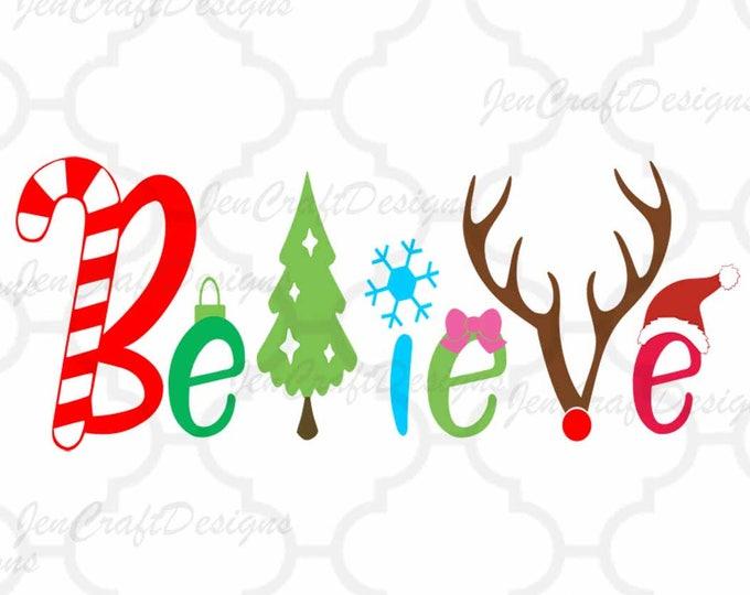 Christmas Believe svg file,  Christmas svg, Anterls Santa Hat, Reindeer, Tree Word Art, SVG, EPS, DXf, Png Silhouette, Cricut SCAL