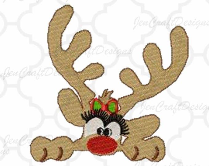Girl Reindeer Peeking Embroidery Monogram Frame Design, 5x7, Instant Download digital file in PES, EXP, VIP, Hus, Xxx and Jef