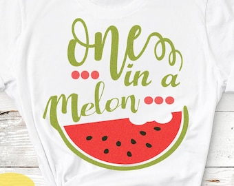 Watermelon svg Summertime Svg One in a Melon SVG, Summer Svg, Cute Kids Cut, sublimation SVG, Dxf, Eps, Png Clipart Art shirt design
