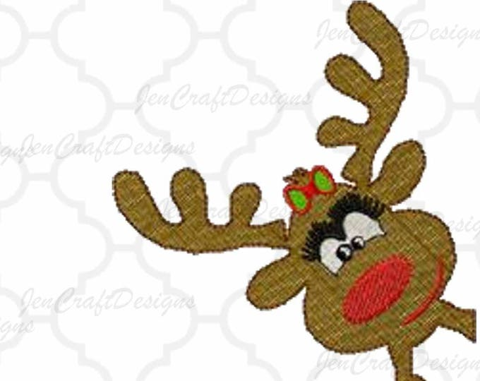 Girl Reindeer Corner peeking Embroidery Design, 4x4, 5x7, Instant Download digital file in PES, EXP, VIP, Hus, Xxx and Jef