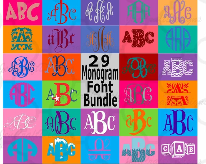 Sale Monogram Font SVG Bundle, 29 Vector Fonts for Cricut, Silhouette Scal in SVG, EPS, Dxf , Interlocking, Round, Diamond, Chevron, Master