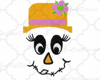 Female Scarecrow Face #5 Embroidery design,bow, Female hat Fall Instant Download digital file in DST, EXP, HUS, Jef, Pes, Vip and Xxx