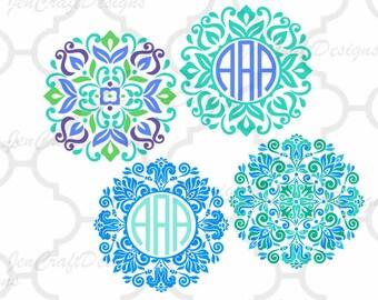 Floral Mandala Pattern Round Monogram Frame, Indian Boho svg Spring Frames   svg dxf eps jpg svg ai png monogram Frame svg cut files