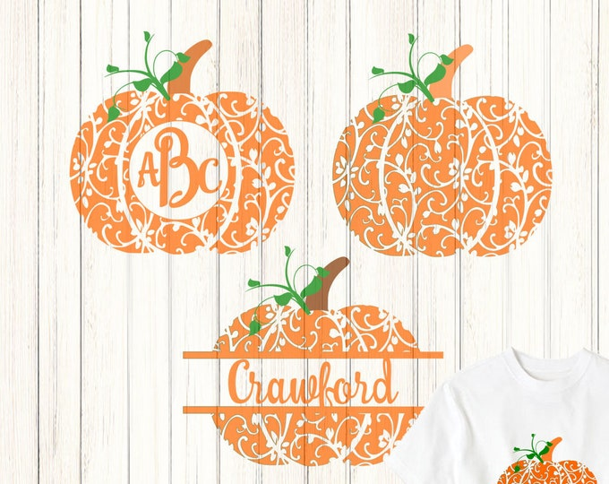 Pattern Fall Pumpkin monogram Frame cutting files. Floral pattern, for Silhouette and Cricut. SVG, DXF, EPS,Png, Pdf Halloween Thanksgiving