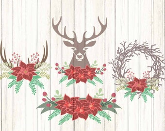 Floral Antler svg Christmas swag svg Cutting File Set Svg, eps, dxf, PNG Format for Cricut and Silhouette, Hunting Fishing, Print, clipart