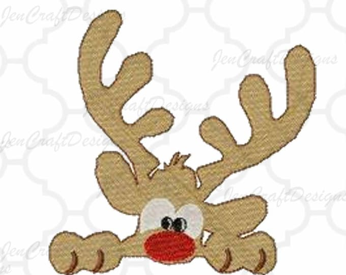 Boy Reindeer Peeking Embroidery Monogram Frame Design, 5x7, Instant Download digital file in PES, EXP, VIP, Hus, Xxx and Jef