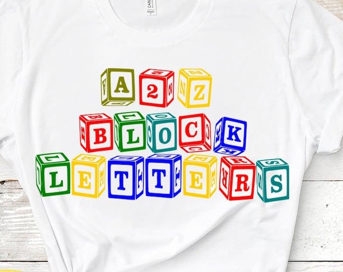 Block Monogram svg Alphabet and numbers  SVG, DXF, EPS, Ai, png Cricut,Silhouette, A-Z Alphabet Letters , Digital Cut Files Print then Cut