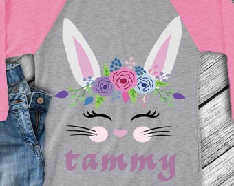 Bunny Eyelashes SVG, Floral Easter Svg, Bunny Rabbit face svg, Birthday Shirt, Cut File, birthday decorations DXF Eps Png, Silhouette Cricut