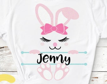 Easter Svg, Cute Bunny Face Svg, Bunny Svg Easter Bunny Svg, Dxf Eps, Girl Bunny Clipart, Monogram Svg, Baby Kids Rabbit Ears Svg, Cut Files
