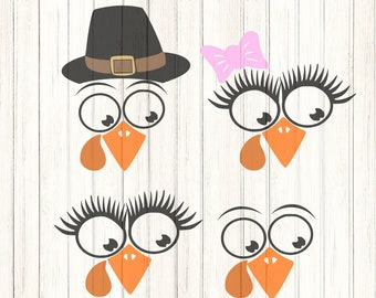 Turkey face, Thanksgiving SVG,EPS Png DXF,  studio files for Cricut, Silhouette, Vinyl Cutters and Screen Printing Cut Files, Print Then Cut