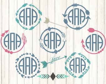Arrow Monogram Svg Boho, Cute Arrow Svg Digital Design, Cutting files for Silhouette & Cricut Svg Dxf Eps, Png Silhouette Cuttable Frames