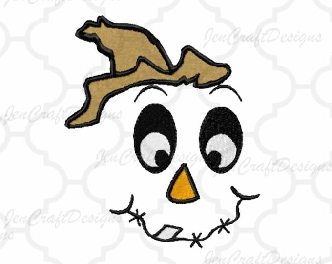 Scarecrow Face #4 Embroidery design,Male hat Fall Instant Download digital file in DST, EXP, HUS, Jef, Pes, Vip and Xxx
