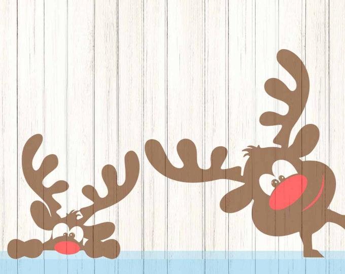 Peeping Christmas Reindeer svg Peeking SVG,EPS Png DXF,digital download Silhouette Cricut, vector Clip Art graphics Vinyl Cutting Machines