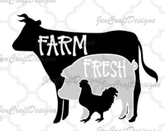 Cow SVG, Pig SVG, Chicken SVG, farm svg, farm svg, farm signs Svg, Eps, Dxf, Png cricut silhouette