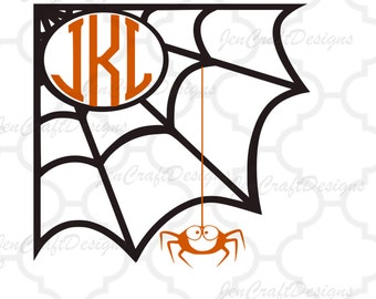Spider Web Monogram Frame, Halloween Monogram Frame, Fall Designs, SVG eps dxf png Files, Cricut Design Space, Silhouette, Digital Cut Files