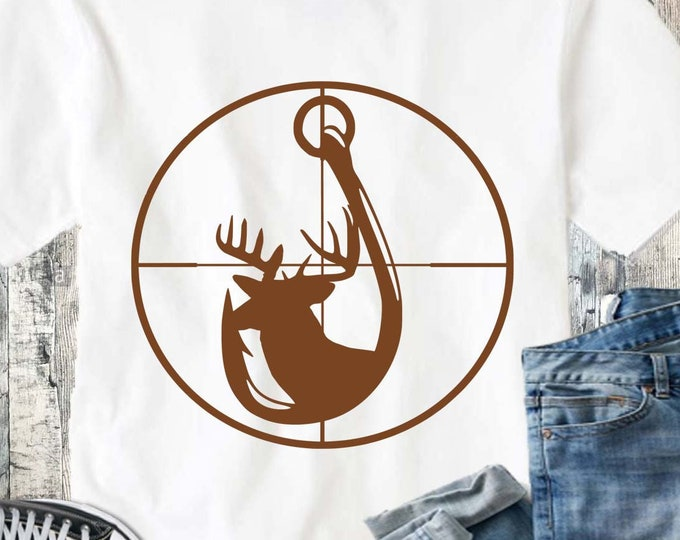 Deer and Hook in Gun Sights, Crosshairs Svg, eps, dxf and PNG Format for Cricut and Silhouette, Hunting Fishing