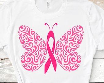 Cancer Ribbon Svg, Filigree Awareness Butterfly, Survivor Fight Breast Cancer Ribbon SVG, DXF, EPS,Png, Ai, jpg, cut file