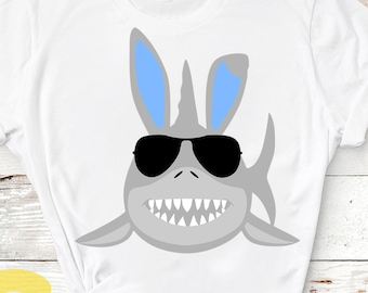 baby shark Bunny Ears Svg, Easter Shark Svg, Easter Svg, shark cut File Shirt design Iron on Sublimation svg png dxf Silhouette cricut
