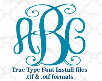 Classy Vine Interlocking Monogram Font in True Type format .TTF & .OTF Installable Font for Cricut, Design Space, Microsoft Word and more