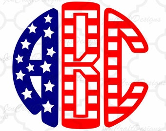 Round Monogram Font SVG, US American Flag Pattern Round Font Svg 4th of July SVG Eps Dxf Studio, Silhouette Cricut Ds Alphabet Cut Files