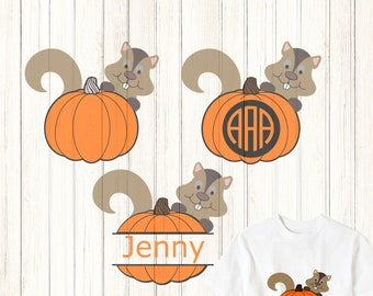 Pumpkin Monogram Frame SVG,EPS, Png, Dxf, Cricut,  Autumn Squirrel Silhouette, Vinyl Cutters Screen Printing Layered Cut Files,