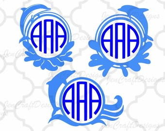 Dolphin SVG Monogram Frame SVG Ocean Waves Wave Beach Vinyl Cutters, Screen Printing, Silhouette, Die Cut Machines