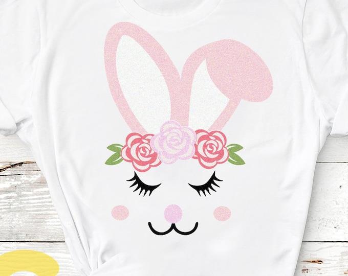 Easter svg, Girl bunny svg, Bunny eyelashes face svg, svg bunny, bunny shirt design, easter rabbit, Easter cutter file SVG, DXF, EPS