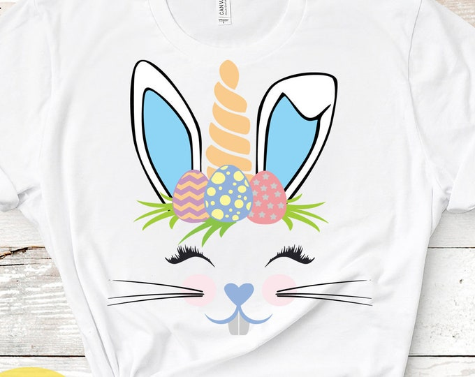 Boy Easter Svg, Bunny Unicorn Svg, Bunnycorn Svg, Easter Bunny Svg, Face svg, Rabbit ears, Unicorn svg, Eps, DXF, PNG, Cricut, Silhouette