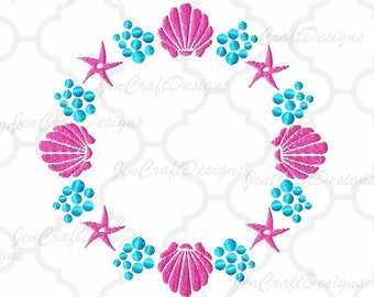 Seashell and Bubbles Embroidery Monogram Frame Sea Starfish Ocean Instant Download digital file in  EXP, HUS, Jef, Pes, Vip and Xxx