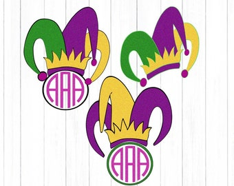 Mardi Gras svg Mardi Gra hat Monogram svg, Jester Crown New Orleans cut file SVG EPS Png DXF, Cricut Design Space, Silhouette Studio