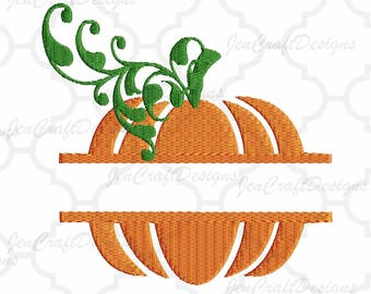 Split Pumpkin Embroidery Monogram Frame  Thanksgiving, Fall Instant Download digital file in  EXP, HUS, Jef, Pes, Vip and Xxx