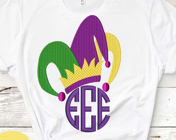 Mardi gras Pes, Jester Hat Embroidery Design PES Mardi Gras Hat Instant Download digital file in EXP, HUS, Jef, Pes, Vip and Xxx