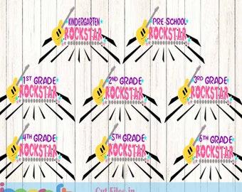 Rock Star Grade Guitar Prek-6th Svg Back to School Shirt design, Student Teacher SVG EPS DXF Png Silhouette Cricut Vector Art Cut File