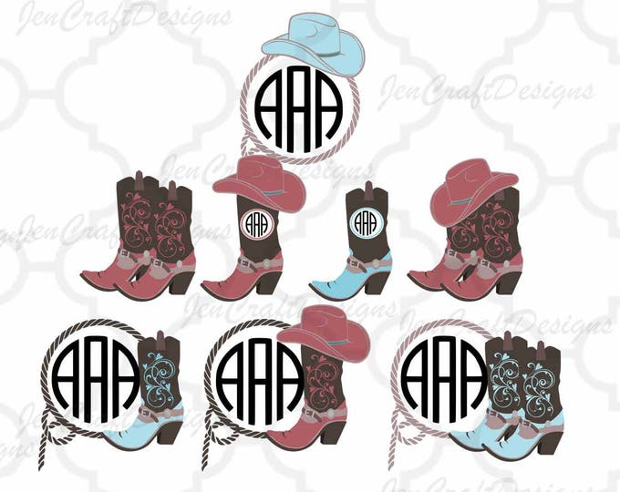 Cowgirl Svg, Cowgirl Monogram SVG, Cowgirl Hat Monogram, Cowgirl Boots, Country SVG, Country Frame Cowboy SVG,dxf png, Cricut, Silhouette