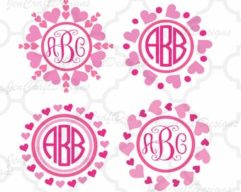 Heart Monogram Frame SVG Valentines Day Love Heart Circle valentine svg Scan N Cut Wedding Svg Eps Dxf Png