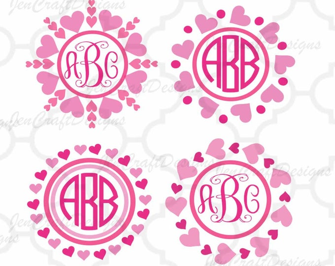 Heart Monogram Frame SVG Valentines Day Love Heart Circle valentine svg Cricut Explore Silhouette Cameo Scan N Cut Wedding Svg Eps Dxf Png