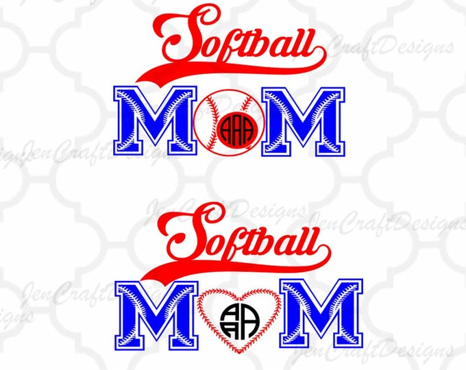 Softball svg Mom SVG Design monogram Frame svg cut files for use with Silhouette, Cricut & other Vinyl craft Cutters, SVG, Eps, Png and DXF