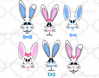 Bunny Face Svg Easter Bunny SVG lady & man face SVG Rabbit Svg File digital cut file Easter Basket svg, Dxf, Eps Png Instant Download