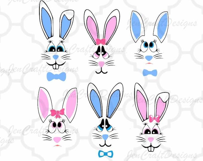 Bunny Face Svg Easter Bunny SVG lady & man face SVG Rabbit Svg File digital cut file Easter Basket svg, Dxf, Eps Png Instant Download