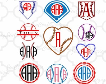 Baseball svg Softball Monogram Frames SVG,Dxf,Eps,Png Softball, Baseball Heart Monogram designs for Silhouette - Cricut Design Space