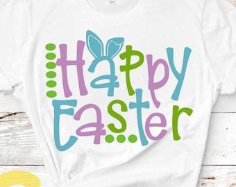 Easter SVG, Happy Easter svg, Bunny Ears, Basket design Easter Rabbit Svg  word art cut file Easter shirt design svg, Dxf, Eps Png