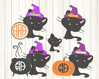 Witch Black Cat SVG,  Halloween Monogram Frame, Halloween Designs, svg eps dxf eps, Svg Files,Vector Art, Cricut, Silhouette, HTC Cut File