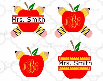 Pencil Apple Teacher Monogram SVG Frames, School Svg Cut Files, svg, dxf,Studio3,eps, png Graduation monogram frame, appreciation Bundle