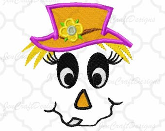 Scarecrow Face #8 Embroidery design,bow, Female hat Fall Instant Download digital file in DST, EXP, HUS, Jef, Pes, Vip and Xxx