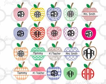 Apple SVG Frames, Teacher Svg Cut Files, svg, dxf, ai, eps, png, jpg Graduation monogram frame, Class Appreciation Bundle Cricut, SIlhouette