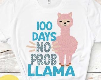 100 days of school svg, 100 days no probllama svg, Llama svg, 100th day of school, Alpaca svg, Teacher, Cute svg Cricut, Cut files, DXF, PNG