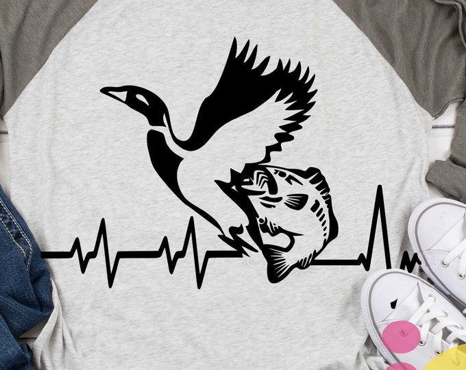 Duck svg Hunting svg, Fish SVG Cut File Heart beat Svg, Fathers Day Dad Png, Eps, Dxf Files, Sublimation, Cricut, Silhouette digital